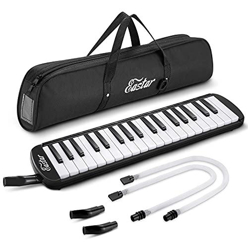 Eastar Melodica Instrument Melodica de Style Piano 37 touches pour enfants et débutants avec embouchures, sac de transport, Noir
