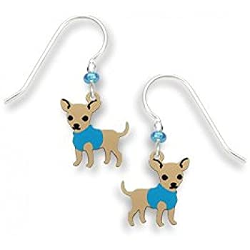 Chihuahua Dog with a Blue Sweater Dangle Earrings Made in USA by Sienna Sky 1675