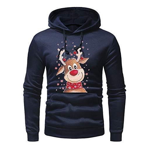 Magiyard Hommes Pull de Noel Homme Rouge Veste Hommes Sweat Shirt Homme Pull Drole ou Noel Marine XL