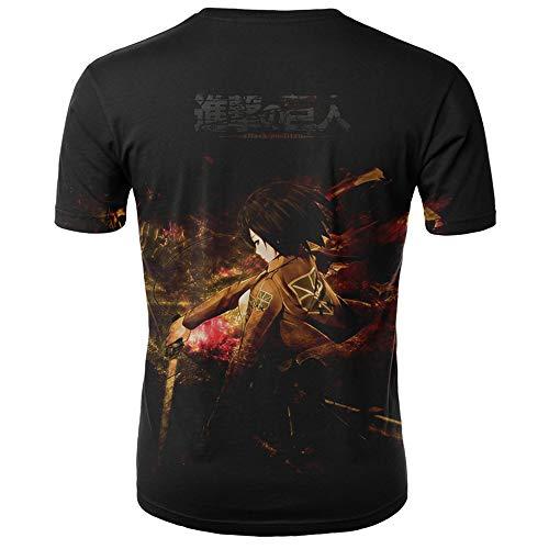 Preisvergleich Produktbild Unisex T Shirts 3D Drucken Kurzarm Sommer Männer Herren T-Shirt Angriff auf Titan-XS