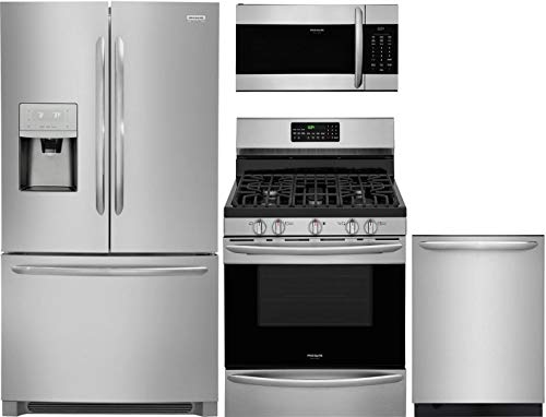 """Frigidaire 4 Piece Kitchen Appliance Package with FGHD2368TF 36"""" French Door Refrigerator FGGF3059TF 30"""" Gas Range FGMV176NTF 30"""" Over the Range Microwave and FGID2479SF 24"""" Built In Fully Integrated Dishwasher in Stainless Steel"""