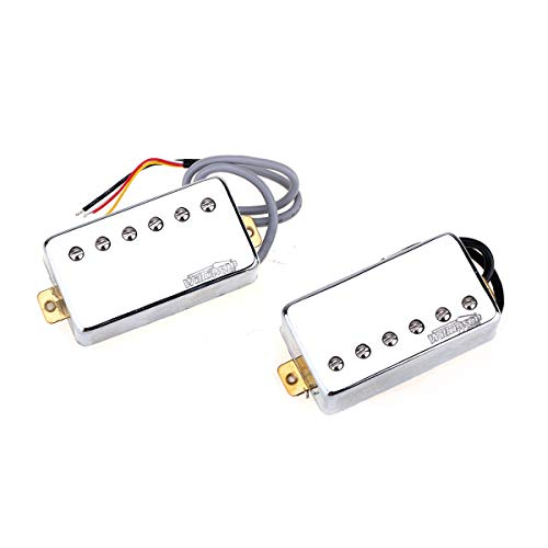 Wilkinson Vintage Tone Alnico 5 PAF Style Humbucker Pickups Set for Les Paul Style Electric Guitar, Chrome
