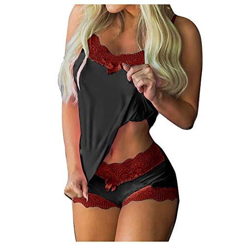 MEITING Pyjama Set Damen Nachtwäsche,Kurz Schlafanzug mit Shorts, Valentinstag Nachtwäsche Set Zweiteilige Nachthemd Sexy Kleider für Frauen Spitzen Unterwäsche Kostüm Minirock Sleepwear