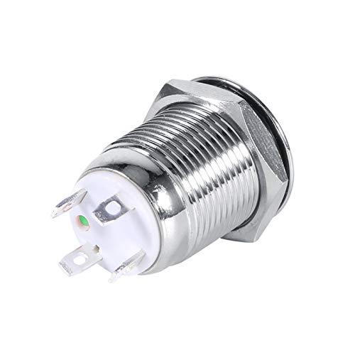 Interruptor de botón momentáneo LED antipolvo fuerte y duradero, con interruptor momentáneo LED de cabeza de(Green LED ring light)