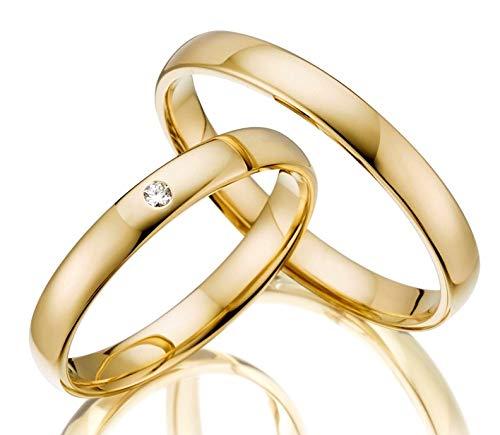 ***AKTIONSPREIS*** 2x Trauringe/Eheringe Gelbgold 333 in Juwelier-Qualität (Gravur/Ringmaßband/Etui/ohne Stein) von 123traumringe
