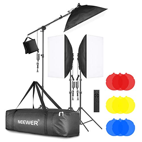 Neewer 3-Pack 2.4G LED Softbox Lighting Kit with Color Filter: 20'x28' Softbox, 3200-5600K 48W Dimmable LED Light Head with 2.4G Remote, Light Stand, Boom Arm, Bag for Photo Studio Video Shooting