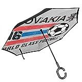 Euro 2016 Fußball - slowakische Fußballkugel grau doppelschichtig umgekehrt Umkehrter Regenschirm für Auto Rückwärtsklappbar auf der Rückseite C-förmige Hände – leicht & Winddicht