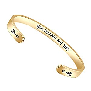 BTYSUN Gold Bracelets for Women Gifts – Personalzied Uplifting Cuff Bangle Inspirational Mantra Engraved Jewelry with Gift Basket.