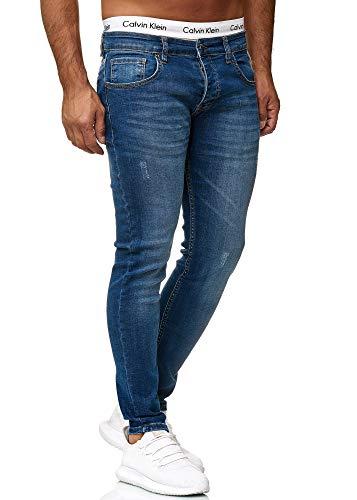 OneRedox Designer Herren Jeans Hose Regular Skinny Fit Jeanshose Basic Stretch 614 Light Blue Used 34/32