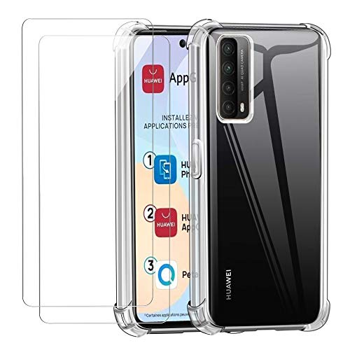 Reshias Funda para Huawei P Smart 2021 con Dos Cristal Templado Protector de Pantalla, Suave TPU Transparente Gel Silicona Anti-caída Protectora Carcasa para Huawei P Smart 2021 6.67''