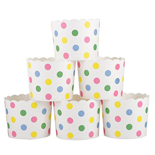 Webake Large Paper Baking Cup, 6oz Disposable Cupcake Muffin Cases, Jumbo Cupcake Liners, Set of 25 (Colorful dot)