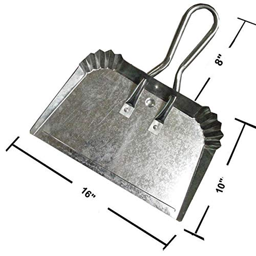 Extra Large Industrial Metal Dustpan   Doesn't Bend & Extra Wide for Large Easy Clean Ups   Lightweight & Rustproof   Precision Edge for Clean Sweeping