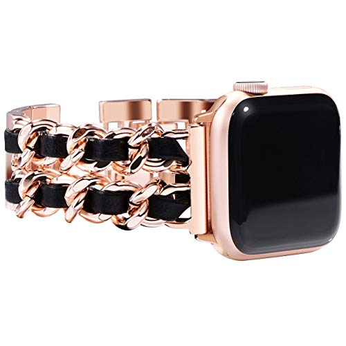 NewWays Womens, Rose Gold Link with Black Leather