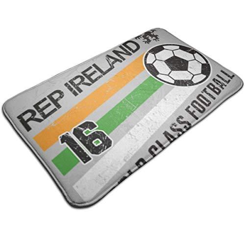 HUTTGIGH Euro 2016 - Felpudo antideslizante para puerta de entrada de la República de Irlanda con balón de fútbol, color gris