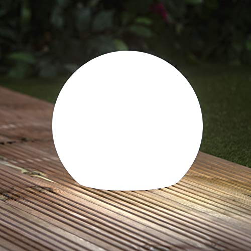 EASYmaxx Solar-Deko-Kugel 30 cm IP67 | Gartenleuchte Kugel mit LED Beleuchtung, Gartenkugel mit Farbwechsel | Moderne Außen-Garten-Lampe, Dekoleuchte | Witterungsbeständig IP67, Fernbedienung