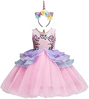 Unicorn Girl Flower Girls Layred Tutu Dress with Headband for Kids Birthday Princess Dresses