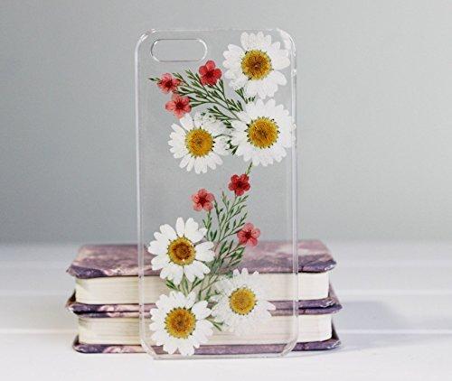 Funda para iPhone 7 con diseño de flores prensadas para iPhone 7, transparente