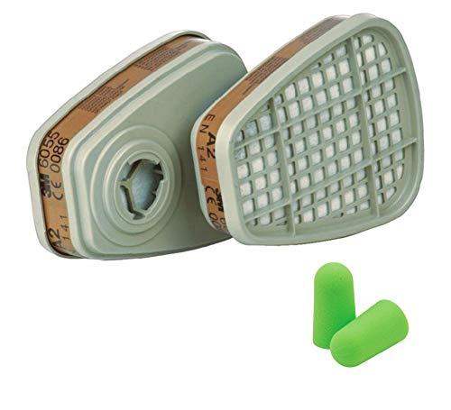 3M Filtros 6055 A2 s - Filtro de Vapores Orgánicos 2 piezas con SmartProduct Tapones para los oídos