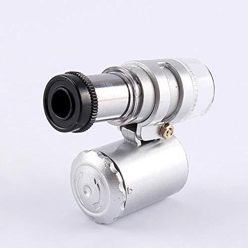 FTVOGUE Pocket Microscope 60X Mini Jewelry Magnifier Glass Loupe Handheld 2 LED UV Light for Phone
