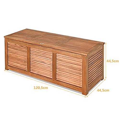 COSTWAY Gartenbox Akazienholz Massiv Gartenbank Auflagenbox Kissenbox Gartentruhe Aufbewahrungsbox für Garten und Hinterhof 120x45x45cm - 6