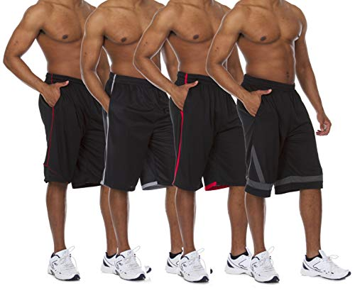 Essential Elements 4 Pack: Men's Active Performance Athletic Basketball Workout Gym Knit Shorts with Pockets (X-Large, Set A)