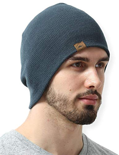 Knit Beanie Winter Hats for Men and Women - Toboggan Cap for Cold Weather - Warm, Soft & Stretchy Daily Ribbed Acrylic Stocking Hat - Lightweight & Stylish Ski, Skate & Snow Caps Dark Gray