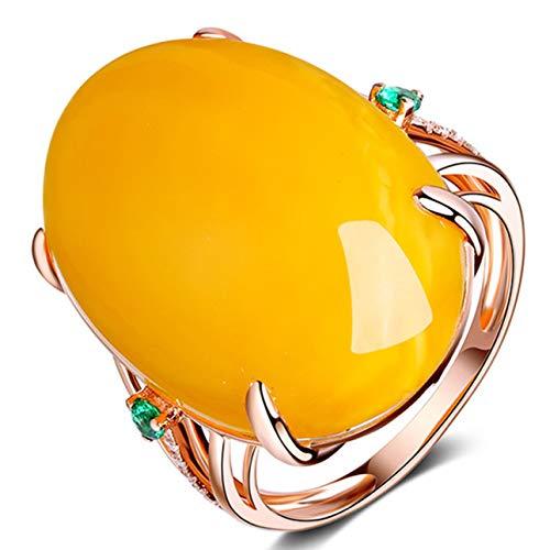 Guoxii Rose Gold Farbe Big Stone Imitation Bienenwachs Eheringe Elegante Party Schmuck für Frauen Mädchen Eröffnung Ring(None None Paraffin Wax)