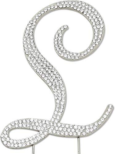 Sparkly Rhinestones Letter L Cake Topper, Birthday Wedding Anniversary Silver Initial L