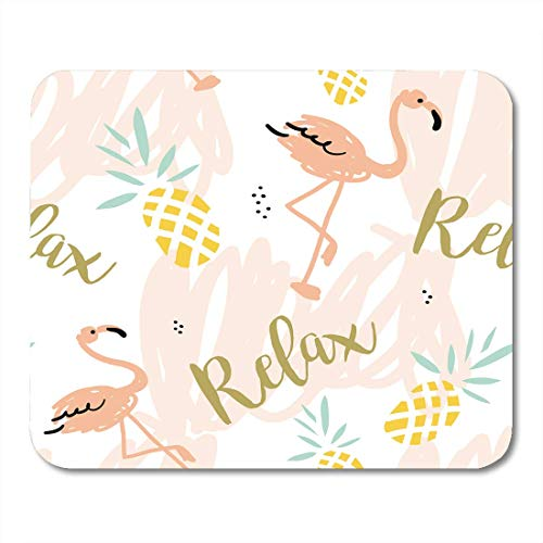 AOHOT Mauspads Blush Pink Flamingo Pineapples and Message Relax on Pastel Strokes Tropical Bird Fruit Mouse Pad Mats 9.5