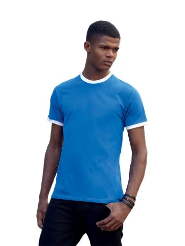 Fruit of the Loom Ringer T-Shirt, Royal Blau/Weiß, Gr.L