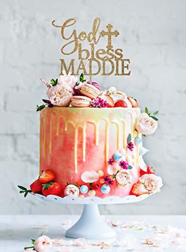 DKISEE Decoración para tarta de bautismo con texto en inglés 'God Bless' para primera comunión, decoración de bautismo, decoración personalizada