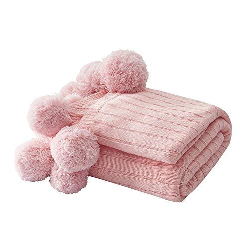 ZYBIN Gestructureerde gebreide superzachte deken met hairball warm Cozy pluche lichte zachte deken voor bed, bank, stoel bank afdekking voor woon- en slaapkamer