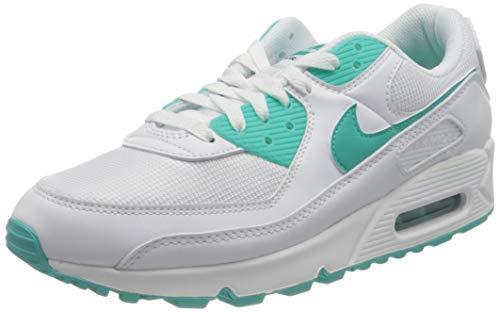 Nike Herren AIR MAX 90 Laufschuh, White Hyper Jade Black, 44 EU