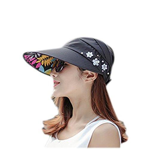 Fablcrew Soleil Cap Plage Chapeau Large Bord Uni Visière Chapeau Pliable réglable Protection UV Casquette de Soleil Noir