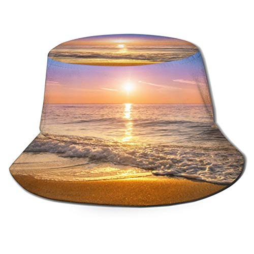 Unisex Bucket Sun Hats A Beautiful Orange Sunset Reflected in The Wet Sand Fashion Summer Outdoor Travel Beach Fisherman Cap