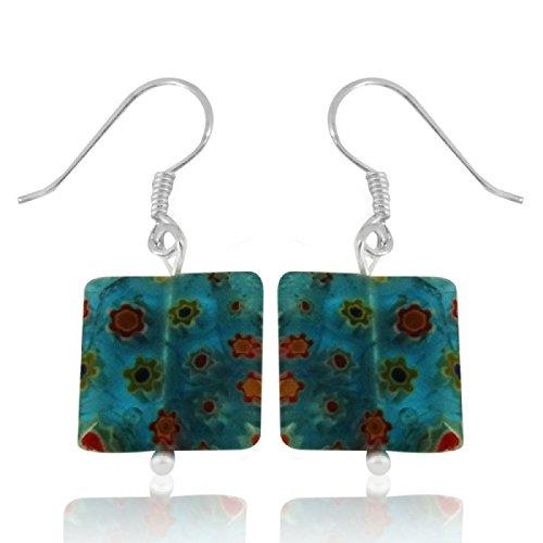 Chic-Net Murano Pendientes de cristal del corazón de plata 925 rojo Modelo de flores colorido