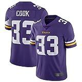WOPOO Outdoor American Football Jersey Dalvin Cook NO.33 Minnesota Untouchable Vikings Vapor Schnell-Limited Jersey Dry T-Shirt - Lila (Lila, XXXL)