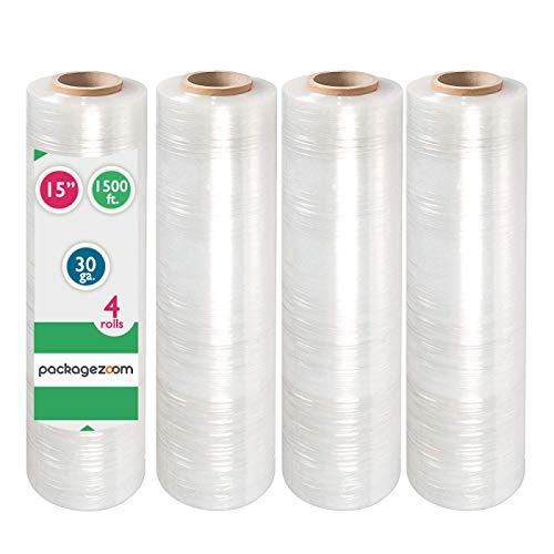 """PackageZoom Pre Stretched 15"""" x 1500 ft 4 Rolls Stretch Wrap Film Clear Cling Plastic for Moving and Packaging Stretch Wrap"""