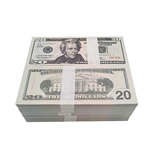 Movie Prop Money Full Print 2 Side,Play Money 100 PCS 20 Dollar Bills Stack for Movies,Kids and Party