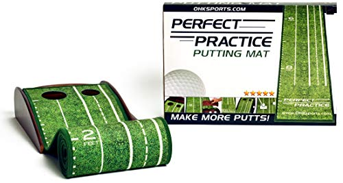 PERFECT PRACTICE Putting Mat- Indoor and Outdoor Golf Putting Mat with Auto Ball Return