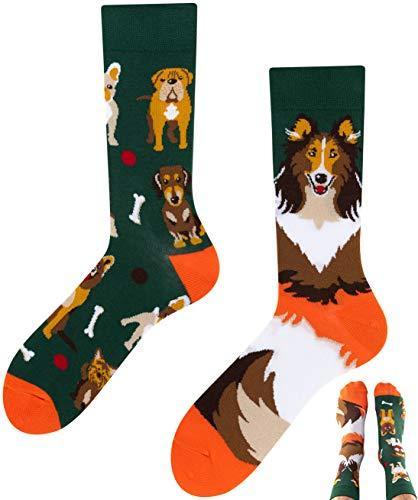 TODO Colours DOGS LIFE Socken mit hunde-motiv Damen und Herren (Dogs Life, 39-42)