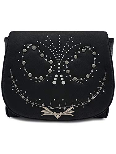 Loungefly x Nightmare Before Christmas Jack Studded Flap Crossbody Bag (One Size, Black)