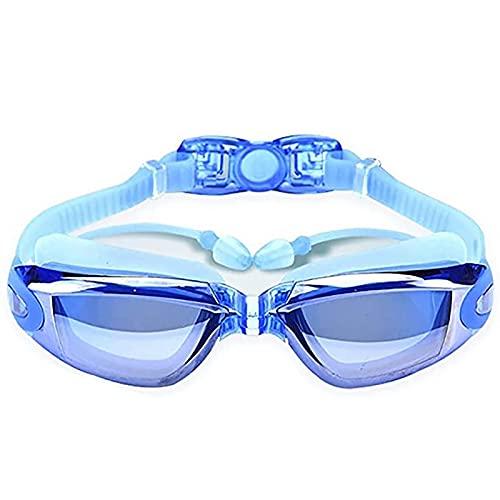 YFAX Gafas Natacion, Gafas de natación para Adultos, Juego de 4 Piezas Que Contiene Gorro de natación, Bolsa de natación, Pinza Nasal, Tapones para los oídos, Unisex, Azul