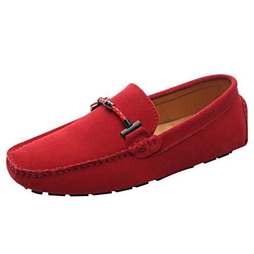 Jamron Uomo Elegante Fibbia Mocassini Comfort Scamosciato Scarpe di Guida Moda Pantofole Rosso SN19020 EU39.5