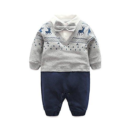 FAIRY BABY Baby Outfits Langarm Strampler Jungen Smoking Baby Baumwolle Gentleman Outfit Bowknot Weihnachts/Taufstrampler Kleidung, Grauer Hirsch