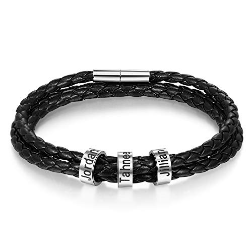XIXI Personalisierte Lederarmband Edelstahl Armband mit 3 Namen Gravur Armband für Herren Multilayer Geflochten Leder Armbänder für Geburtstag (3 Namen schwarz, 21)