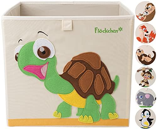 Flöckchen Caja de almacenamiento para niños, caja de juguetes para habitación infantil, caja de juguetes (33 x 33 x 33 cm) que cabe en la estantería Kallax, diseño de animales (Sophie la tortu