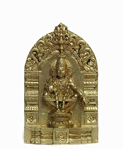 Swadesh Brahma Crafts Ayyappa Swamy Idol Made in polymarble, Ayyapa Statue- 15 cm Total Height, 10 cm Idol(Golden Color)