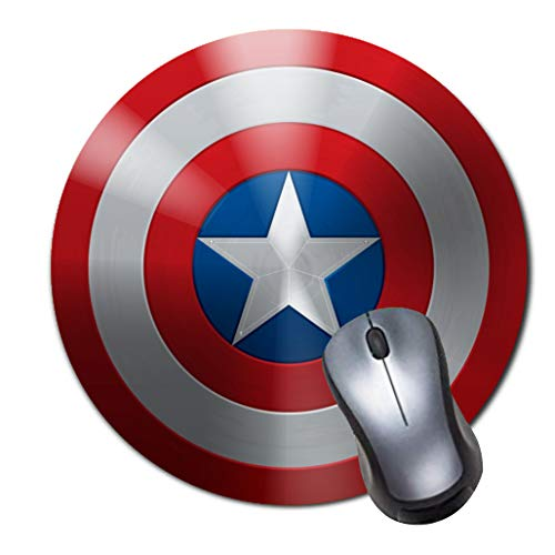 Round Gaming Mouse Pad Creative Custom Non Slip Rubber Mousepad Mat-Captain America Shield Icon