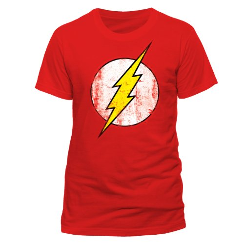 DC Comics - Camiseta de Flash con cuello redondo de manga co